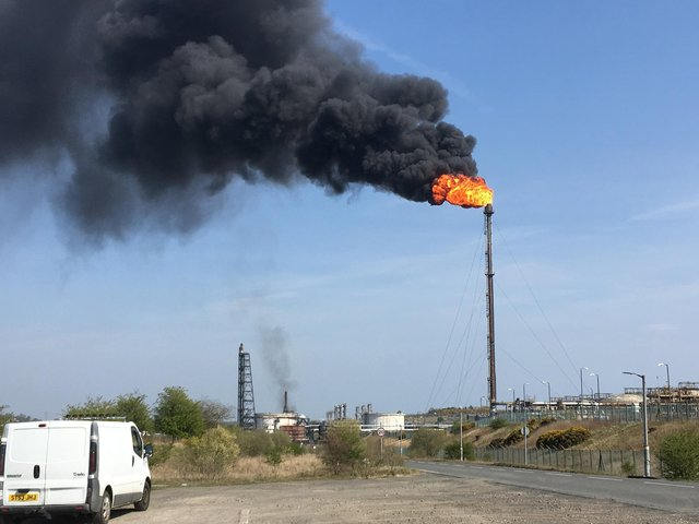 Unplanned flaring at Mossmorran petro chemical plant in April 21 2019