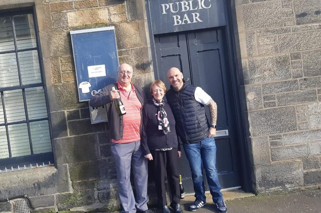 Moss, Senga and Trevor Crombie outside the St Clair Tavern, St Clair Street, Kirkcaldy which they have owned for the past 30 years