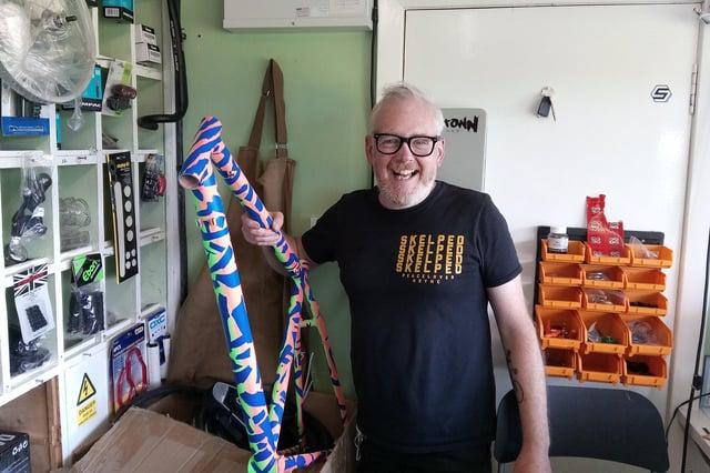 Shuggy Hughes with a customised bike frame at the Gallatown Bike Hub.