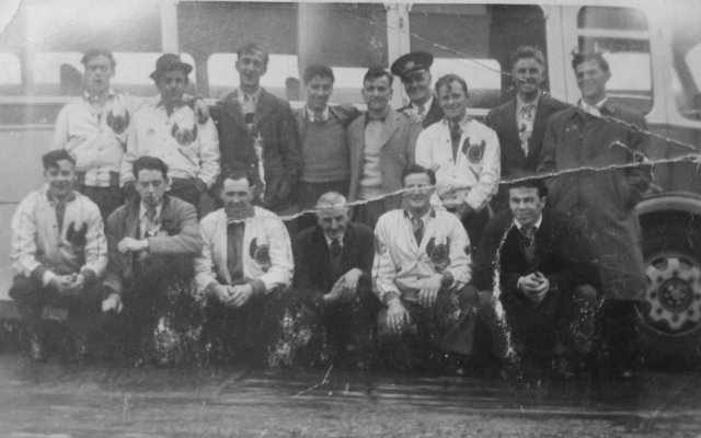 Fife Flyers 1948 - a bus trip to Durham to play Durham Wasps, possibly to mark the first ever game staged at the newly opened Durham Ice Rink. The team would have to get the ferry across the Forth before continuing their journey south by road.