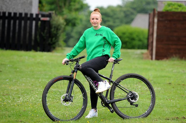 Gillian on her mountain bike. Pic: Fife Photo Agency.