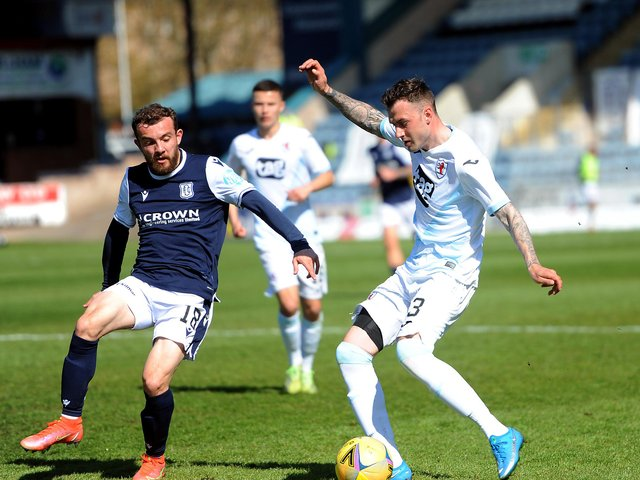 Kieran MacDonald in action for Raith in the Premiership play-off semi-final against Dundee (Pic: Fife Photo Agency)