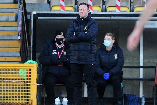 02-01-2021. Picture Michael Gillen. METHILL. Day 283 of UK wide coronavirus lockdown. Day 62 of Scotland 5 tier system. Falkirk is in Level 4. METHILL. Bayview Stadium. East Fife FC v Falkirk FC. Season 2020 - 2021. Matchday 11. SPFL Scottish League One. Darren Young.