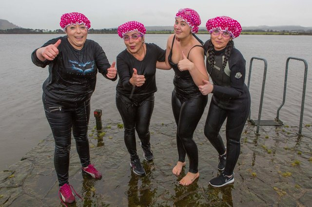 Girl from Holiday Inn Express in Glenrothes jumped into a freezing cold Loch Leven in aid of Cervical Cancer as a memorial to a friend who passed away  - pictured are Stephanie Davie (24), Lynsay Findlay (33), Dayu Hamilton (54) and Kimberley Richardson (27)