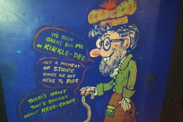 Rolf Harris mural at the Adam Smith Theatre in Kirkcaldy which was painted over seven years ago this week.