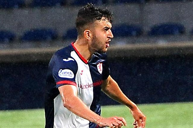Dario Zanatta watches his deflected shot go in from the edge of the box to make it 3-0 to Raith Rovers at Stark's Park on Tuesday against Brechin City (picture by Fife Photo Agency)