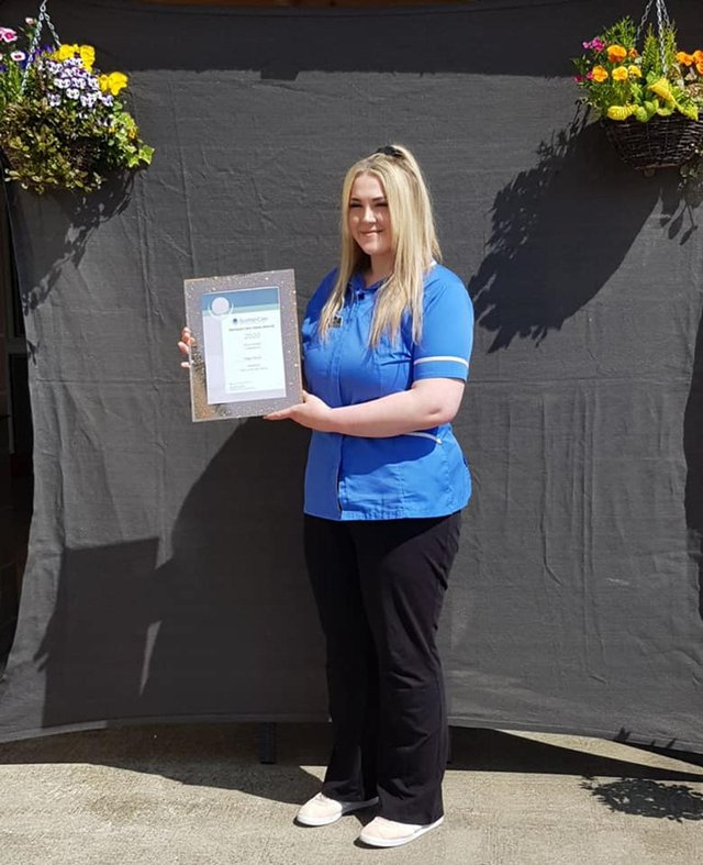 Paige Stocks, senior carer at Raith Manor in Kirkcaldy, was announced as the winner of the Carer of the Year Award at the Scottish Care Awards 2020 recently.