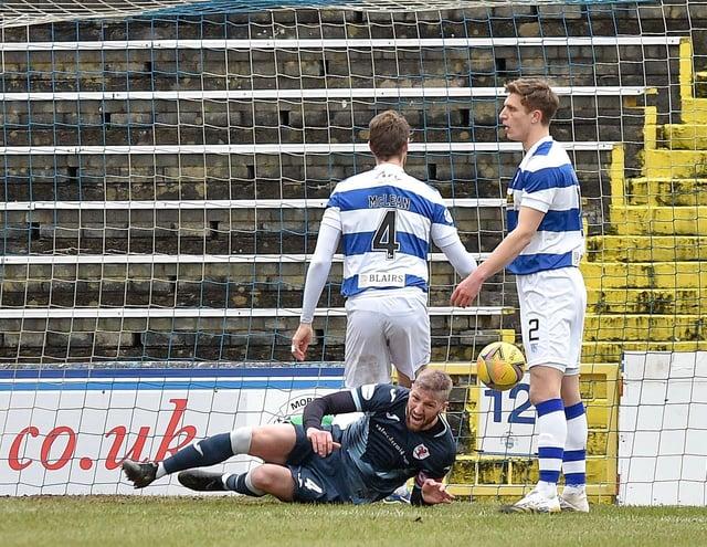 Iain Davidson scores the winner against Morton in February (Pic: Dave Johnston)