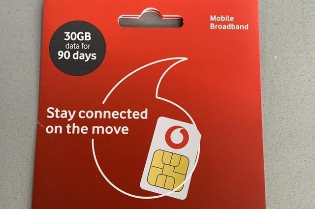 One of the SIM cards the college is giving to students.