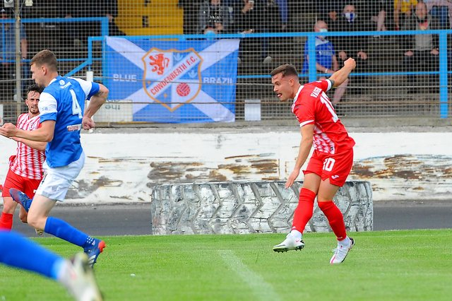 Lewis Vaughan fires home the only goal of the game at the weekend. Pic by Walter Neilson