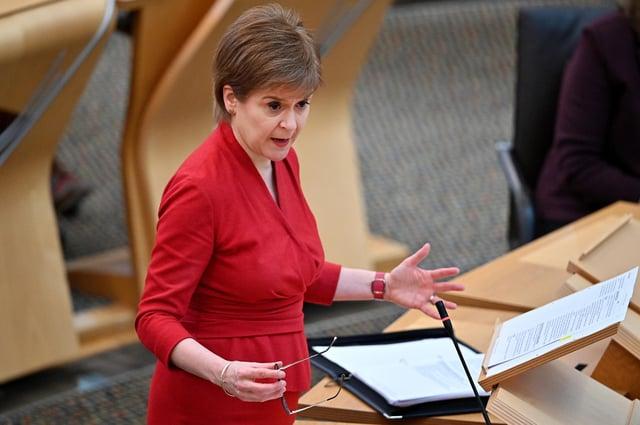 First Minister Nicola Sturgeon at the Scottish Parliament in Holyrood, Edinburgh.