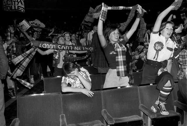 Bay City Rollers fans go wild as the band take to the stage at the Odeon in Edinburgh in 1976