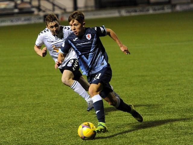 Kai Kennedy on the attack for Raith against Ayr (Pic: Fife Photo Agency)