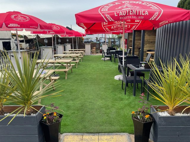 The stunning new alfresco dining and drinks area at The Sands Hotel in Burntisland. Pic courtesy of The Sands Hotel.
