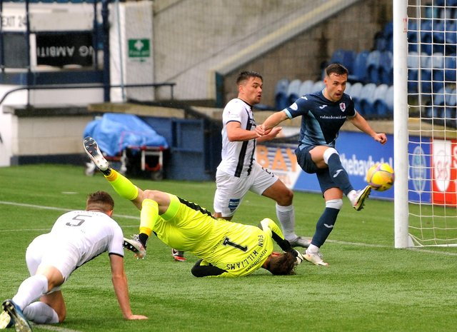Lewis Vaughan opens the scoring against Dunfermline (Pic: Fife Photo Agency)