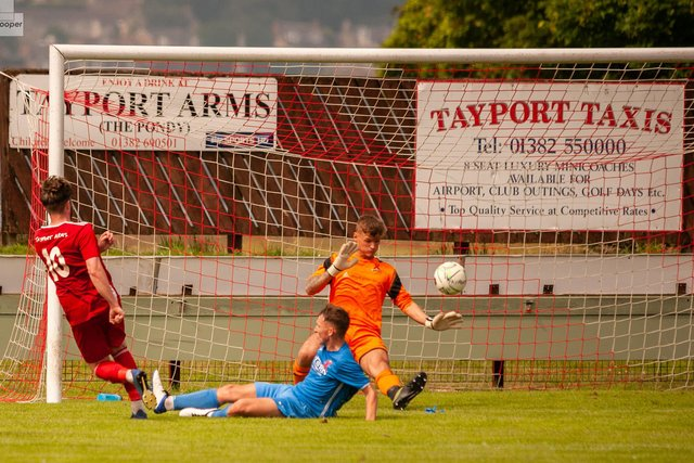 Jamie Gill wraps up a convincing win for Tayport by hitting goal number four. Picture by Matt Hooper / This is St Andrews.