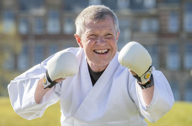 Scottish Liberal Democrat Leader Willie Rennie takes part in a karate lesson at The Meadows, Edinburgh, during campaigning for the Scottish Parliamentary election.