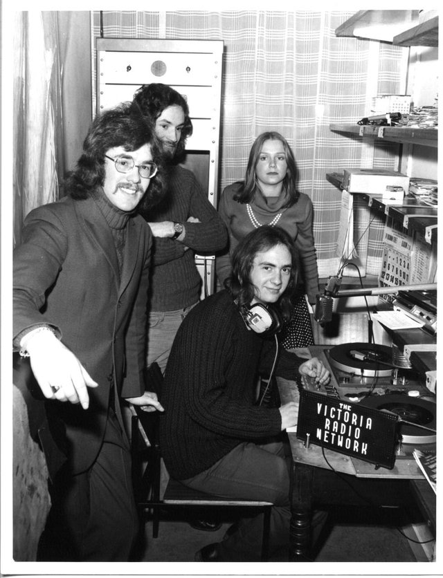 Tony Fimister plus early VRN presenters broadcasting from the broom cupboard in 1971.