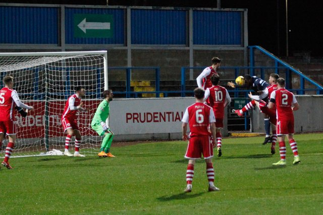 Gozie Ugwu scores Rvers' first goal of the evening (Pic: Scott Louden)