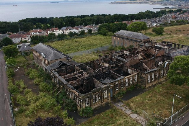 The extent of the damage to Viewforth High School after the fire is evident from this aerial photo (Pic: John Wilson/ Instagram: wilsonjpj))