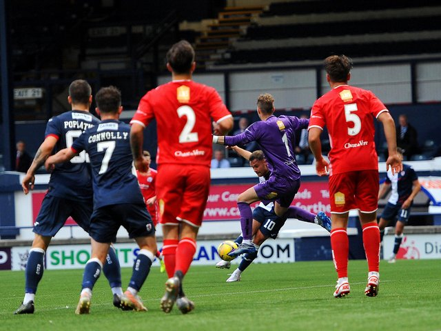 Lewis Vaughan opens the scoring on Tuesday night for Raith Rovers against Brechin City in the Premier Sports League Cup (picture by Fife Photo Agency)