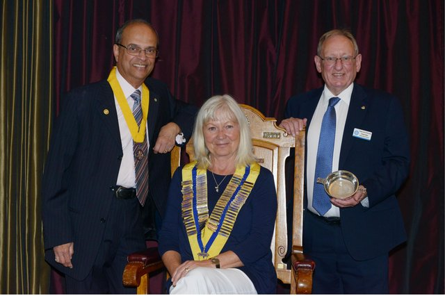 Past president Alice Soper 2019-2020 with (from left to right) Dr Swapan Mukherjee and past president Robert Main. Pic: George Mcluskie.