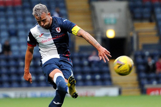 Raith Rovers captain Kyle Benedictus lofts a long ball upfield (picture by Fife Photo Agency)
