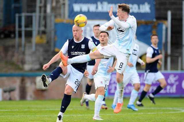 Regan Hendry challenges for the ball with Dundee's Charlie Adam (Pic: Michael Gillen)