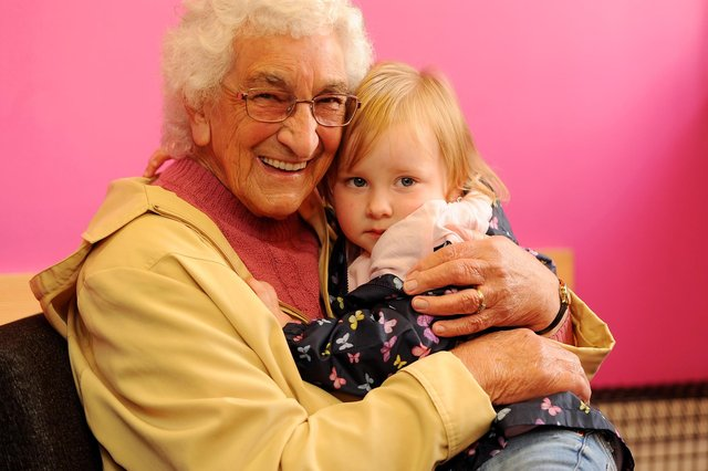 A long awaited hug for Betty Cairns with granddaughter Charli Lamont aged 2, at Linton Lane Centre, Kirkcaldy (Pic:  Fife Photo Agency)
