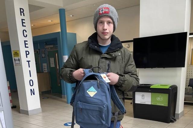 Ryan Abbott with his new bag.