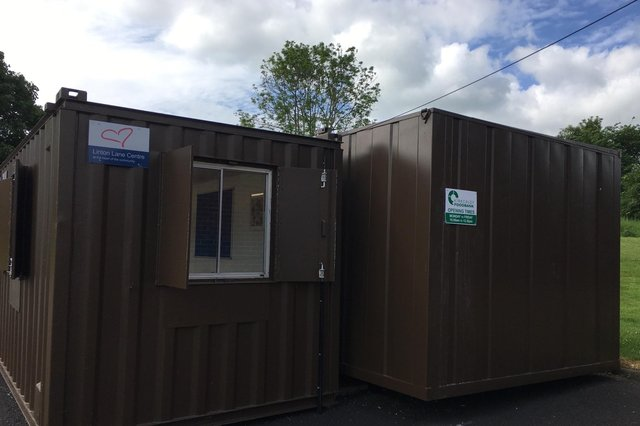 The newly installed portacabins.