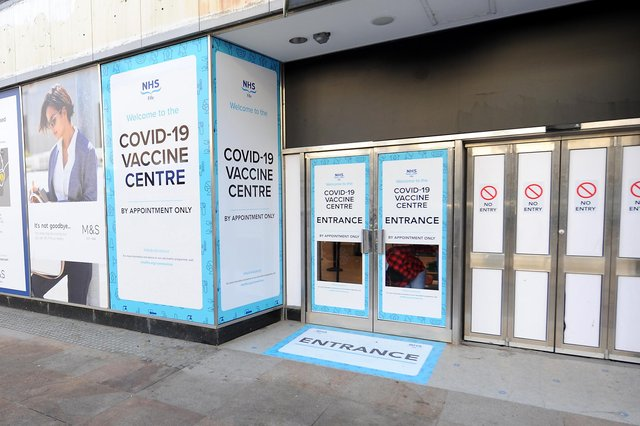 The mass COVID vaccination centre in the former M&S shop on Kirkcaldy High Street was forced to close due to water damage after the heavy rain (Pic: Fife Photo Agency)