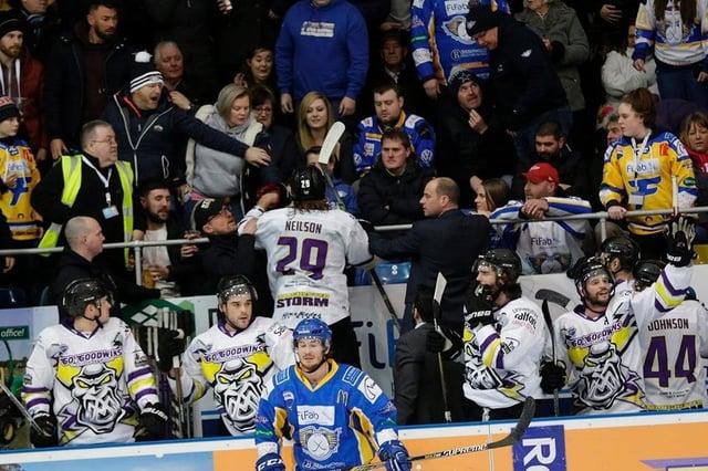 The incident involving Manchester Storm player Eric Neilson and a Fife Flyers fan. (Pic: Steve Gunn)