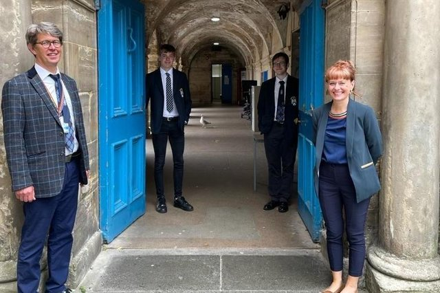 The last day at the old Madras. From left, Olav Darge, depute head teacher, head persons Callum Herzog and Joseph Usher, and rector Avril McNeil.