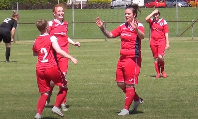 Stacey Penman celebrates scoring the winning goal