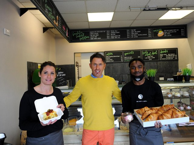 From left: manager Gemma Potter, owner Gary Watkinson and Panashe Kwajiya at The Tattie Shed in Kirkcaldy. Pic: Fife Photo Agency