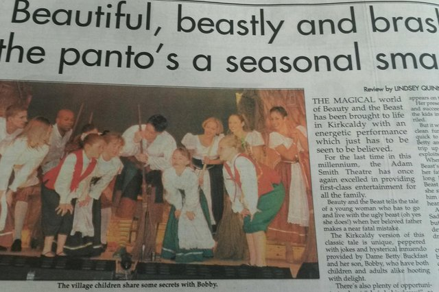 James McAvoy panto review from 1999 in Fife Free Press - he appeared as Bobby Buckfast in Beauty & The Beast at the Adam Smith Theatre, Kirkcaldy
