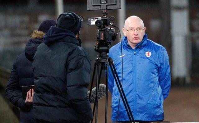 John McGlynn is interviewed at full time (Pic: Scott Louden)