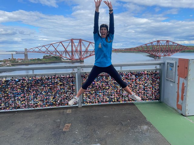 Fife woman Diane Davie cycled to the Forth Road Bridge and then danced across it and back to raise money for the RAF Benevolent Fund at the weekend.