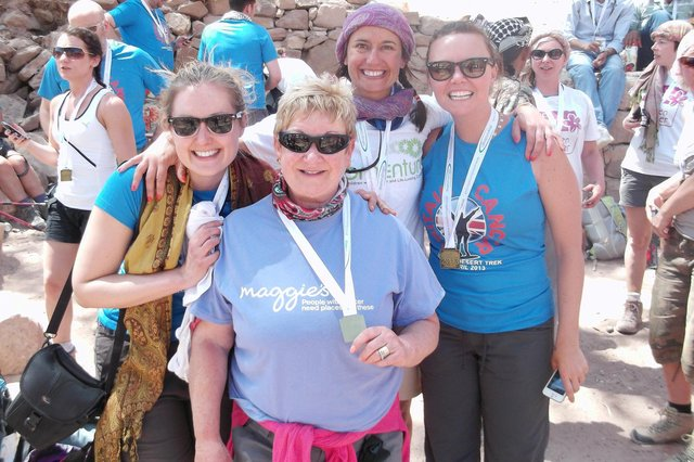 Janice Allan ( centre) on her Jordan trek. On the right is actress Charlie Brooks from Eastenders