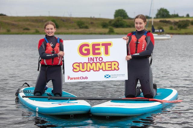 Leah and Eden enjoying paddleboarding at Lochore Meadows with Get into Summer.
