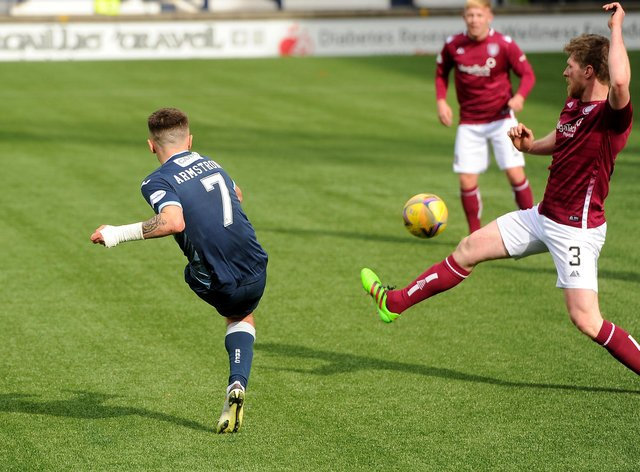 Dan Armstrong scores his second goal against Arbroath (Pic: Fife Photo Agency)