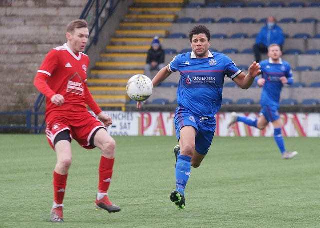 Dundonald Bluebell in action earlier this season (Pic George Wallace)