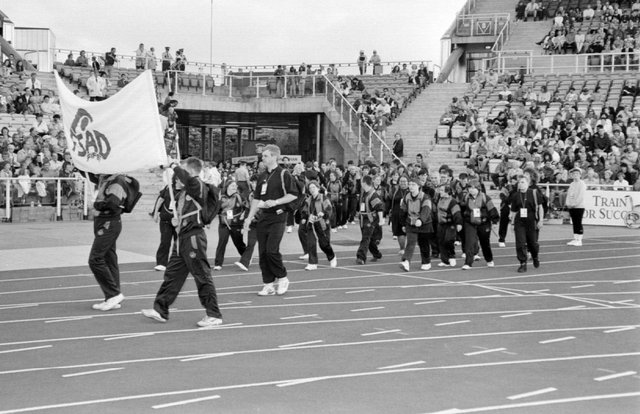 Fife athletes at the opening ceremony for the 1993 Special Olympics, held in Sheffield (Pic: Bill Dickman)