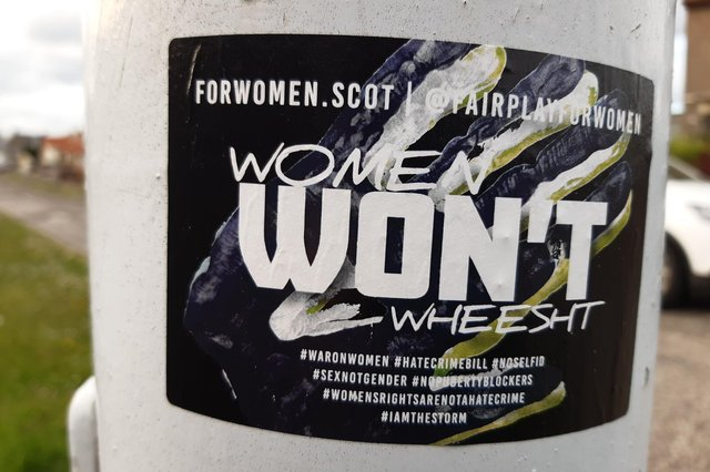 The 'Women Won't Wheesht' stickers put on lamp-posts on a Kirkcaldy street