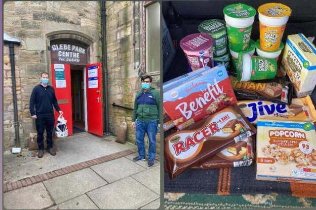 Ahmadiyya Muslim Community volunteers delivering snacks to NHS workers at a Covid test centre in Kirkcaldy.