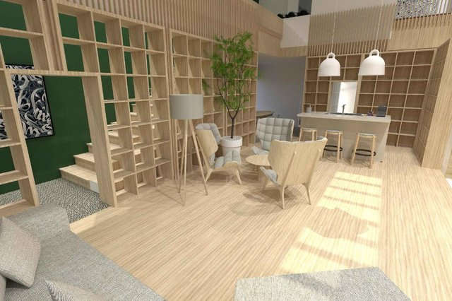 Artist's impression of new wellbeing hub for NHS staff being created at the Victoria Hospital, Kirkcaldy, due to open Autumn 2021