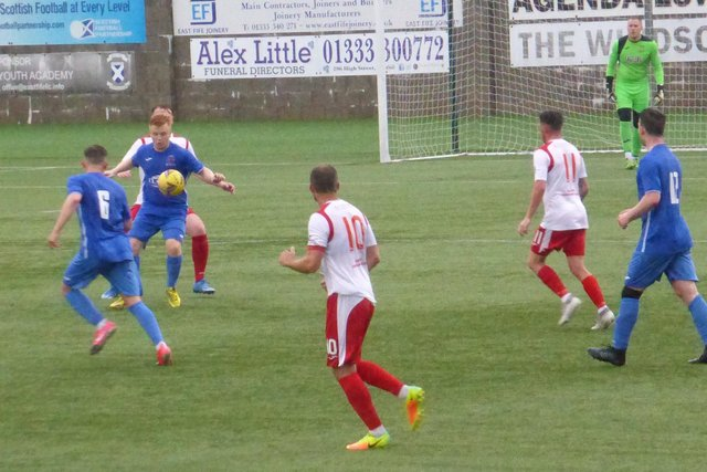 Fraser Anderson holds up play during a break up the park for St Andrews Utd. Picture by Donald Gellatly
