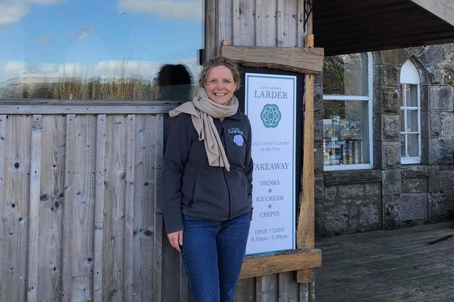 Owner Emma at the new kiosk.
