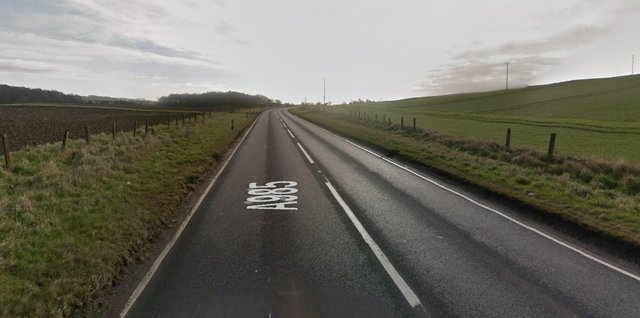 The two-car road crash happened at around 8pm, Tuesday, April 6, between the Cairney hill roundabout and the junction with Clinkum Bank on the A985 (Photo: Google Maps).